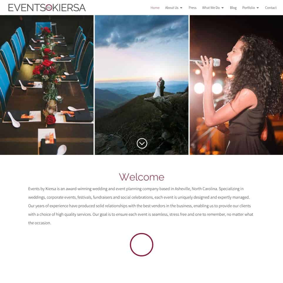 Events by Kiersa - Website Design