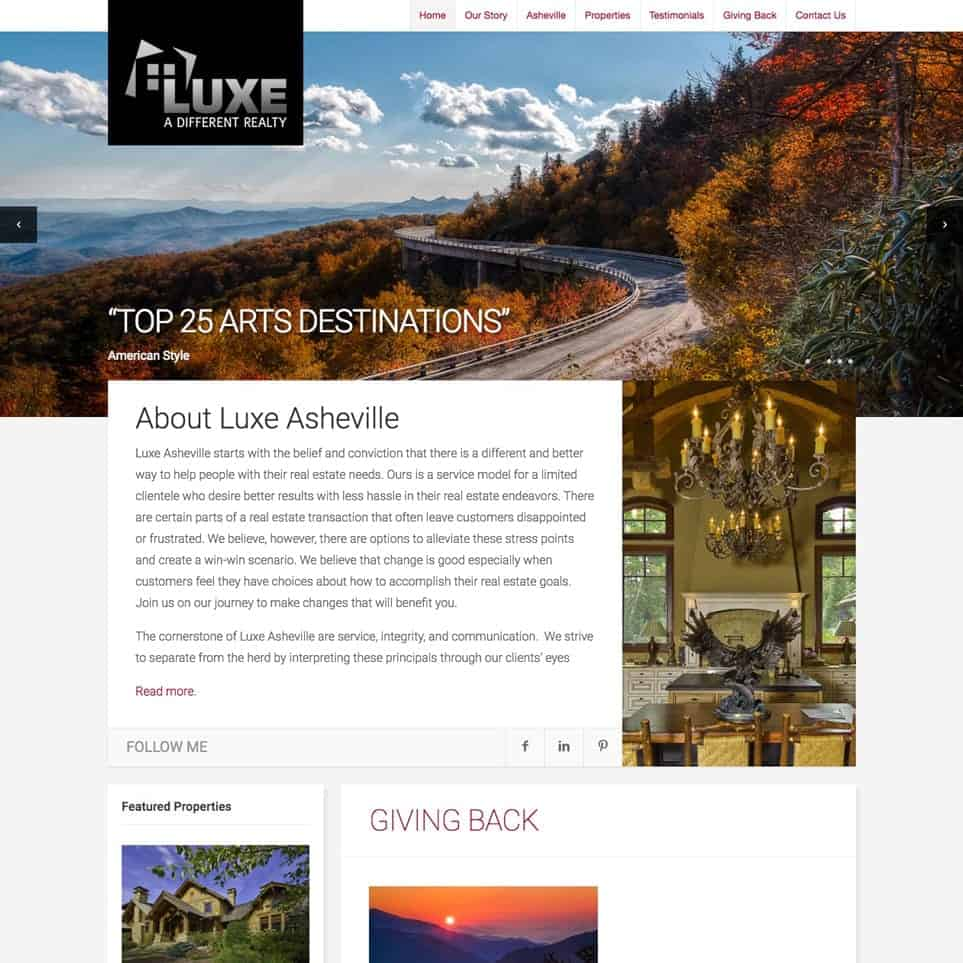 LUXE Realty - Website Design